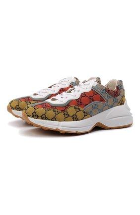 Мужские текстильные кроссовки rhyton GUCCI разноцветного цвета, арт. 663659/2UZJ0 | Фото 1 (Подошва: Массивная; Материал внутренний: Текстиль; Материал внешний: Текстиль; Стили: Гранж)