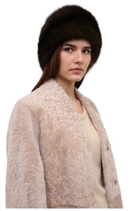 Женская шапка-кубанка из меха норки KUSSENKOVV темно-коричневого цвета, арт. 060213583080   Фото 2 (Материал: Натуральный мех)