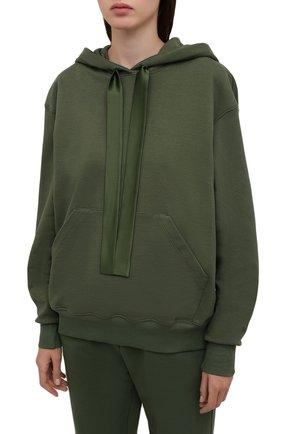 Женский хлопковый костюм I.D. SARRIERI темно-зеленого цвета, арт. A7556-A7572 | Фото 2 (Рукава: Длинные; Материал внешний: Хлопок; Длина (для топов): Стандартные; Длина (брюки, джинсы): Стандартные; Кросс-КТ: Трикотаж; Стили: Спорт-шик)