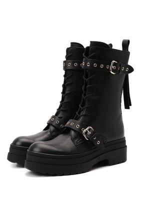 Женские кожаные ботинки REDVALENTINO черного цвета, арт. WQ0S0G58/TBB   Фото 1 (Материал внутренний: Натуральная кожа; Подошва: Платформа; Каблук высота: Средний; Женское Кросс-КТ: Байкеры-ботинки)