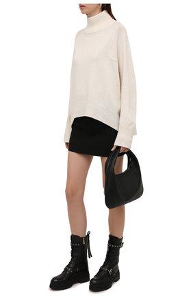 Женские кожаные ботинки REDVALENTINO черного цвета, арт. WQ0S0G58/TBB   Фото 2 (Материал внутренний: Натуральная кожа; Подошва: Платформа; Каблук высота: Средний; Женское Кросс-КТ: Байкеры-ботинки)