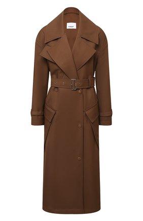 Женское шерстяное пальто laxton BURBERRY коричневого цвета, арт. 8038930 | Фото 1 (Материал внешний: Шерсть; Материал подклада: Купро; Рукава: Длинные; Длина (верхняя одежда): Длинные; 1-2-бортные: Однобортные; Стили: Кэжуэл)