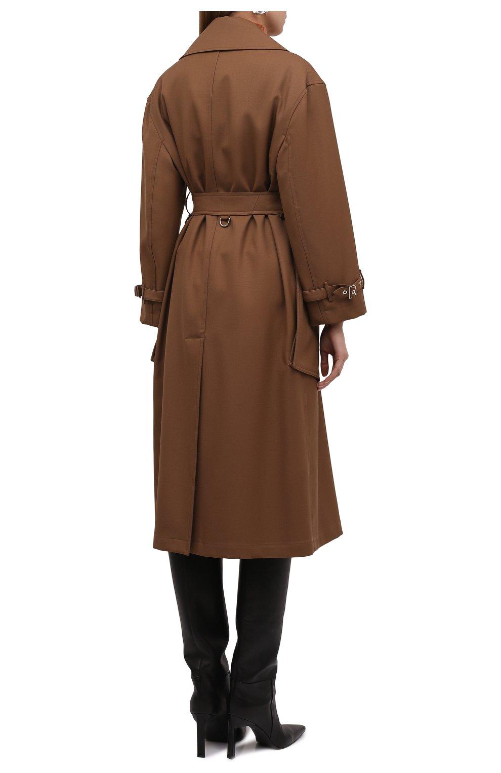 Женское шерстяное пальто laxton BURBERRY коричневого цвета, арт. 8038930   Фото 4 (Материал внешний: Шерсть; Рукава: Длинные; Длина (верхняя одежда): Длинные; 1-2-бортные: Однобортные; Материал подклада: Купро; Стили: Кэжуэл)
