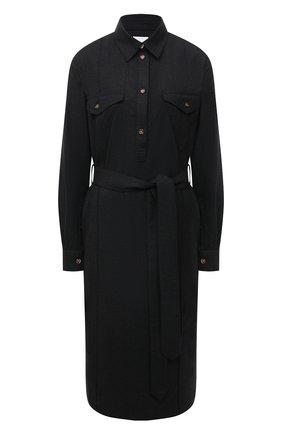 Женское шерстяное платье BURBERRY темно-серого цвета, арт. 8044830 | Фото 1 (Материал внешний: Шерсть; Длина Ж (юбки, платья, шорты): Миди; Рукава: Длинные; Женское Кросс-КТ: Платье-одежда, платье-рубашка; Случай: Повседневный; Стили: Кэжуэл)