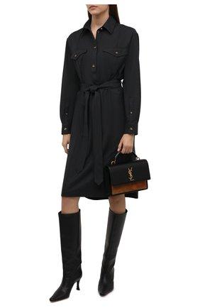 Женское шерстяное платье BURBERRY темно-серого цвета, арт. 8044830 | Фото 2 (Материал внешний: Шерсть; Длина Ж (юбки, платья, шорты): Миди; Рукава: Длинные; Женское Кросс-КТ: Платье-одежда, платье-рубашка; Случай: Повседневный; Стили: Кэжуэл)