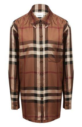 Женская шелковая рубашка BURBERRY коричневого цвета, арт. 8044841 | Фото 1 (Длина (для топов): Удлиненные; Материал внешний: Шелк; Рукава: Длинные; Женское Кросс-КТ: Рубашка-одежда; Принт: С принтом, Клетка; Стили: Кэжуэл)