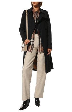 Женская шелковая рубашка BURBERRY коричневого цвета, арт. 8044841 | Фото 2 (Длина (для топов): Удлиненные; Материал внешний: Шелк; Рукава: Длинные; Женское Кросс-КТ: Рубашка-одежда; Принт: С принтом, Клетка; Стили: Кэжуэл)