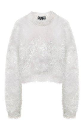 Женский свитер DOLCE & GABBANA белого цвета, арт. FXE77T/JCM02 | Фото 1 (Рукава: Длинные; Материал внешний: Синтетический материал; Длина (для топов): Стандартные; Женское Кросс-КТ: Свитер-одежда; Стили: Романтичный)