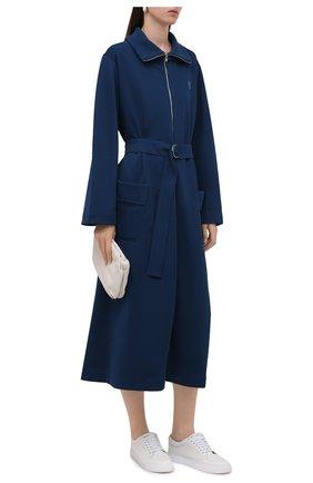 Женское платье KENZO темно-синего цвета, арт. FB62R07984IP   Фото 2 (Материал внешний: Хлопок, Синтетический материал; Длина Ж (юбки, платья, шорты): Миди; Рукава: Длинные; Женское Кросс-КТ: Платье-одежда; Случай: Повседневный; Стили: Кэжуэл)