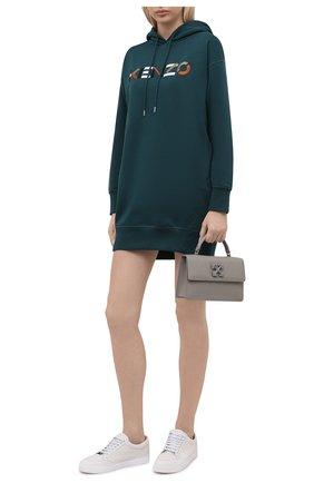 Женское хлопковое платье KENZO изумрудного цвета, арт. FB62R07724M0   Фото 2 (Материал внешний: Хлопок; Длина Ж (юбки, платья, шорты): Мини; Рукава: Длинные; Женское Кросс-КТ: Платье-одежда; Случай: Повседневный; Стили: Спорт-шик)