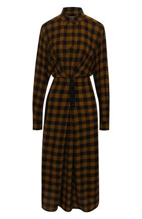 Женское платье из вискозы и шерсти KENZO темно-коричневого цвета, арт. FB62R00495AH   Фото 1 (Материал внешний: Вискоза; Длина Ж (юбки, платья, шорты): Миди; Рукава: Длинные; Женское Кросс-КТ: Платье-одежда, платье-рубашка; Случай: Повседневный; Стили: Кэжуэл)