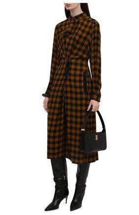 Женское платье из вискозы и шерсти KENZO темно-коричневого цвета, арт. FB62R00495AH   Фото 2 (Материал внешний: Вискоза; Длина Ж (юбки, платья, шорты): Миди; Рукава: Длинные; Женское Кросс-КТ: Платье-одежда, платье-рубашка; Случай: Повседневный; Стили: Кэжуэл)