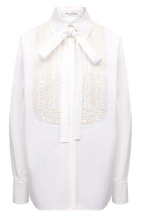 Женская хлопковая блузка VALENTINO белого цвета, арт. WB0AB2Y05A6 | Фото 1 (Материал внешний: Хлопок; Рукава: Длинные; Длина (для топов): Стандартные; Женское Кросс-КТ: Блуза-одежда; Принт: Без принта; Стили: Бохо)