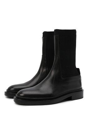 Женские комбинированные ботинки JIL SANDER черного цвета, арт. JS37201A-14030 | Фото 1 (Материал внешний: Текстиль; Каблук высота: Низкий; Подошва: Платформа; Материал внутренний: Натуральная кожа; Женское Кросс-КТ: Челси-ботинки)