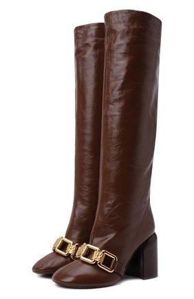 Женские кожаные сапоги JIL SANDER коричневого цвета, арт. JS37233C-14014 | Фото 1 (Материал внутренний: Натуральная кожа; Высота голенища: Средние; Каблук высота: Высокий; Подошва: Плоская; Каблук тип: Устойчивый)