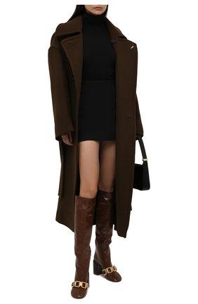 Женские кожаные сапоги JIL SANDER коричневого цвета, арт. JS37233C-14014 | Фото 2 (Материал внутренний: Натуральная кожа; Высота голенища: Средние; Каблук высота: Высокий; Подошва: Плоская; Каблук тип: Устойчивый)