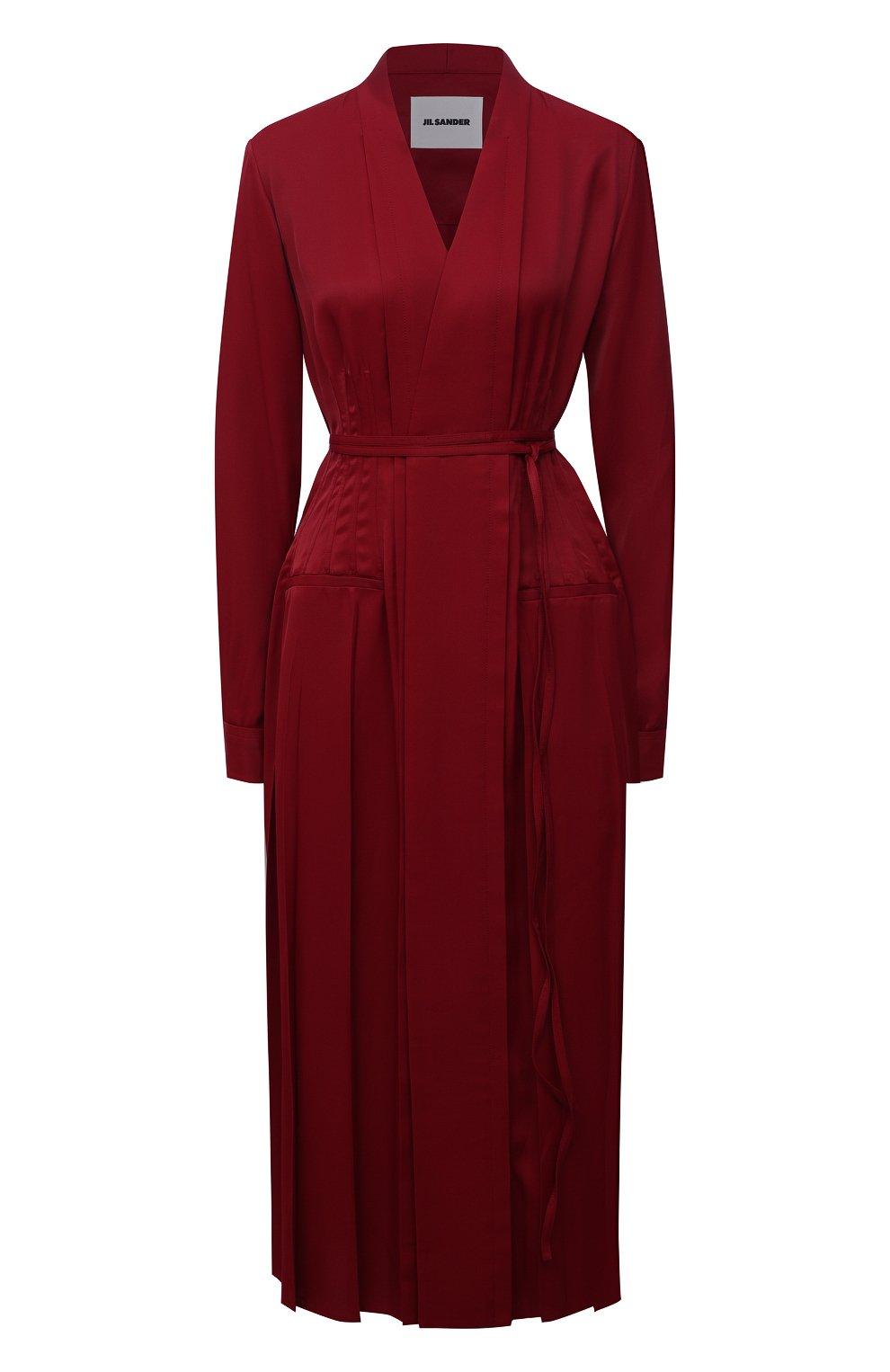 Женское платье из вискозы JIL SANDER бордового цвета, арт. JSWT506706-WT381500   Фото 1 (Рукава: Длинные; Случай: Повседневный; Длина Ж (юбки, платья, шорты): Миди; Материал внешний: Вискоза; Женское Кросс-КТ: Платье-одежда; Стили: Кэжуэл)