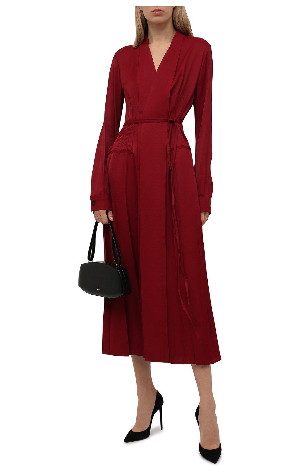 Женское платье из вискозы JIL SANDER бордового цвета, арт. JSWT506706-WT381500   Фото 2 (Рукава: Длинные; Случай: Повседневный; Длина Ж (юбки, платья, шорты): Миди; Материал внешний: Вискоза; Женское Кросс-КТ: Платье-одежда; Стили: Кэжуэл)