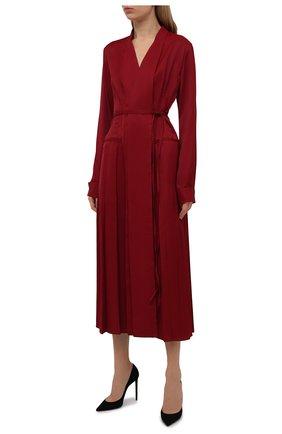 Женское платье из вискозы JIL SANDER бордового цвета, арт. JSWT506706-WT381500   Фото 3 (Рукава: Длинные; Случай: Повседневный; Длина Ж (юбки, платья, шорты): Миди; Материал внешний: Вискоза; Женское Кросс-КТ: Платье-одежда; Стили: Кэжуэл)