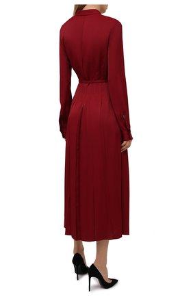 Женское платье из вискозы JIL SANDER бордового цвета, арт. JSWT506706-WT381500   Фото 4 (Рукава: Длинные; Случай: Повседневный; Длина Ж (юбки, платья, шорты): Миди; Материал внешний: Вискоза; Женское Кросс-КТ: Платье-одежда; Стили: Кэжуэл)