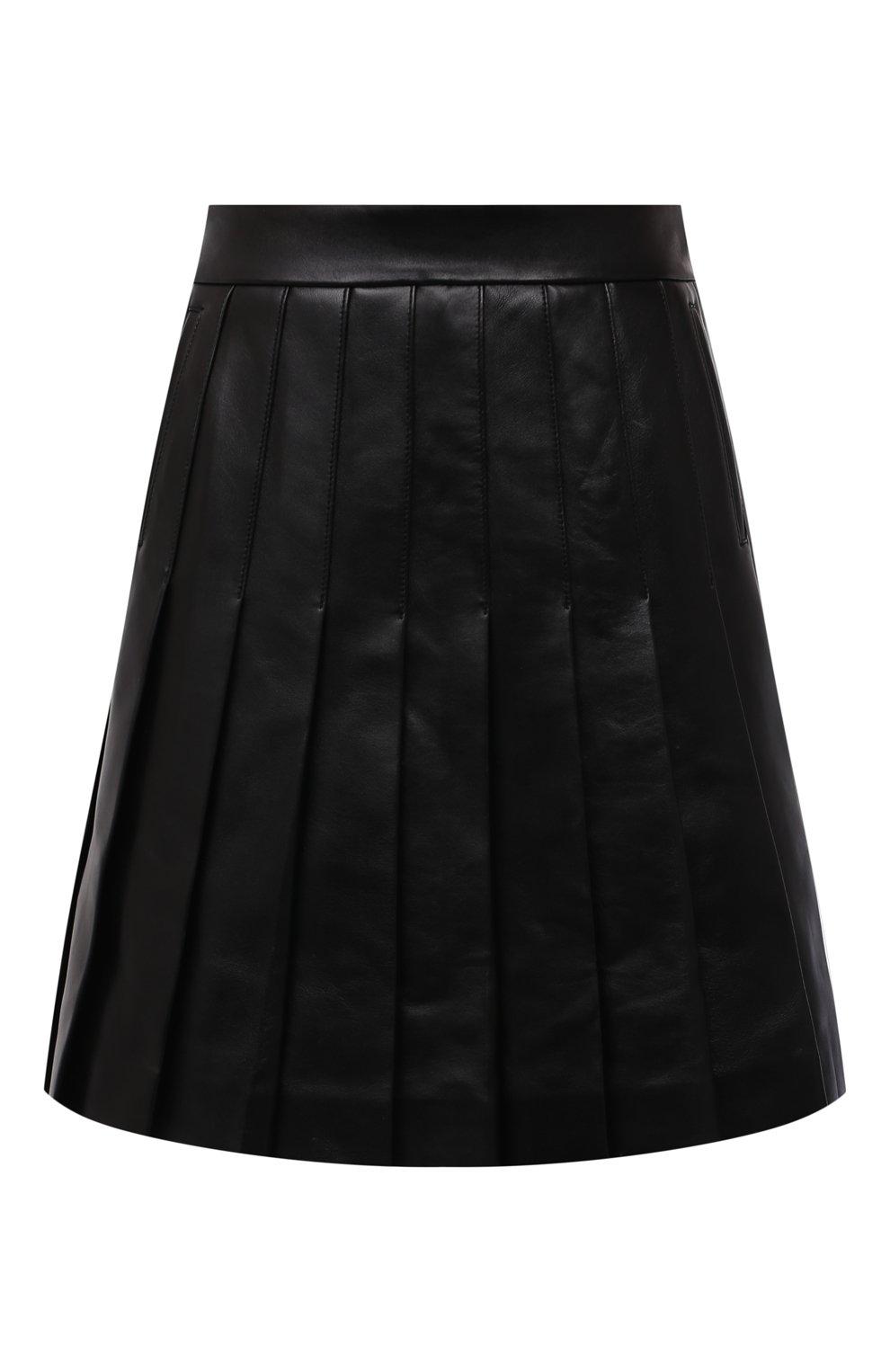 Женская кожаная юбка BALMAIN черного цвета, арт. WF1LB250/L158   Фото 1 (Длина Ж (юбки, платья, шорты): Мини; Женское Кросс-КТ: юбка-плиссе, Юбка-одежда; Стили: Гранж; Материал подклада: Вискоза)