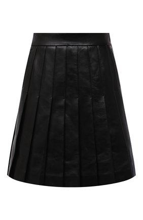 Женская кожаная юбка BALMAIN черного цвета, арт. WF1LB250/L158   Фото 1 (Материал подклада: Вискоза; Длина Ж (юбки, платья, шорты): Мини; Женское Кросс-КТ: Юбка-одежда, юбка-плиссе; Стили: Гранж)