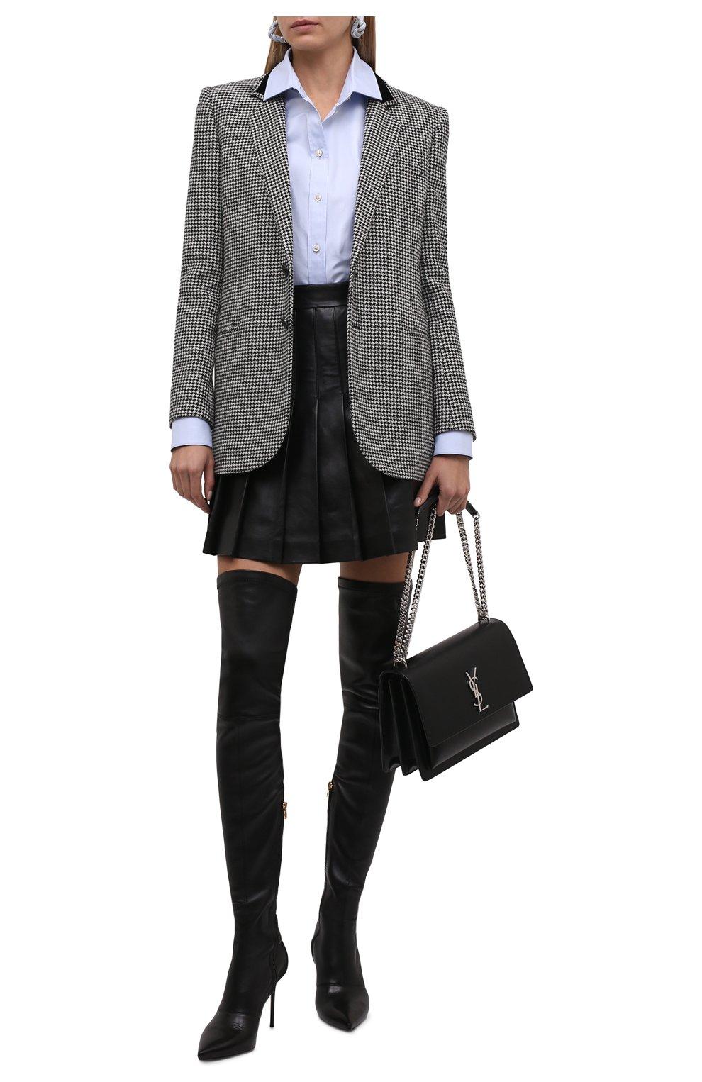 Женская кожаная юбка BALMAIN черного цвета, арт. WF1LB250/L158   Фото 2 (Длина Ж (юбки, платья, шорты): Мини; Женское Кросс-КТ: юбка-плиссе, Юбка-одежда; Стили: Гранж; Материал подклада: Вискоза)