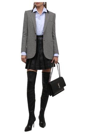 Женская кожаная юбка BALMAIN черного цвета, арт. WF1LB250/L158   Фото 2 (Материал подклада: Вискоза; Длина Ж (юбки, платья, шорты): Мини; Женское Кросс-КТ: Юбка-одежда, юбка-плиссе; Стили: Гранж)