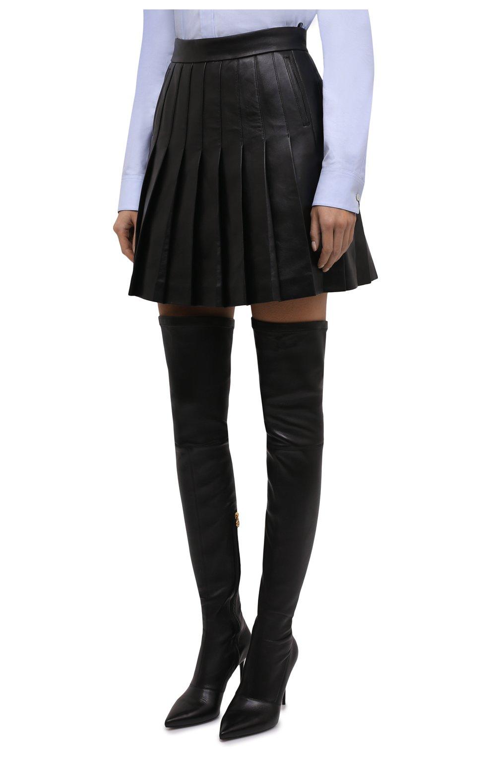 Женская кожаная юбка BALMAIN черного цвета, арт. WF1LB250/L158   Фото 3 (Длина Ж (юбки, платья, шорты): Мини; Женское Кросс-КТ: юбка-плиссе, Юбка-одежда; Стили: Гранж; Материал подклада: Вискоза)