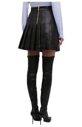 Женская кожаная юбка BALMAIN черного цвета, арт. WF1LB250/L158   Фото 4 (Длина Ж (юбки, платья, шорты): Мини; Женское Кросс-КТ: юбка-плиссе, Юбка-одежда; Стили: Гранж; Материал подклада: Вискоза)