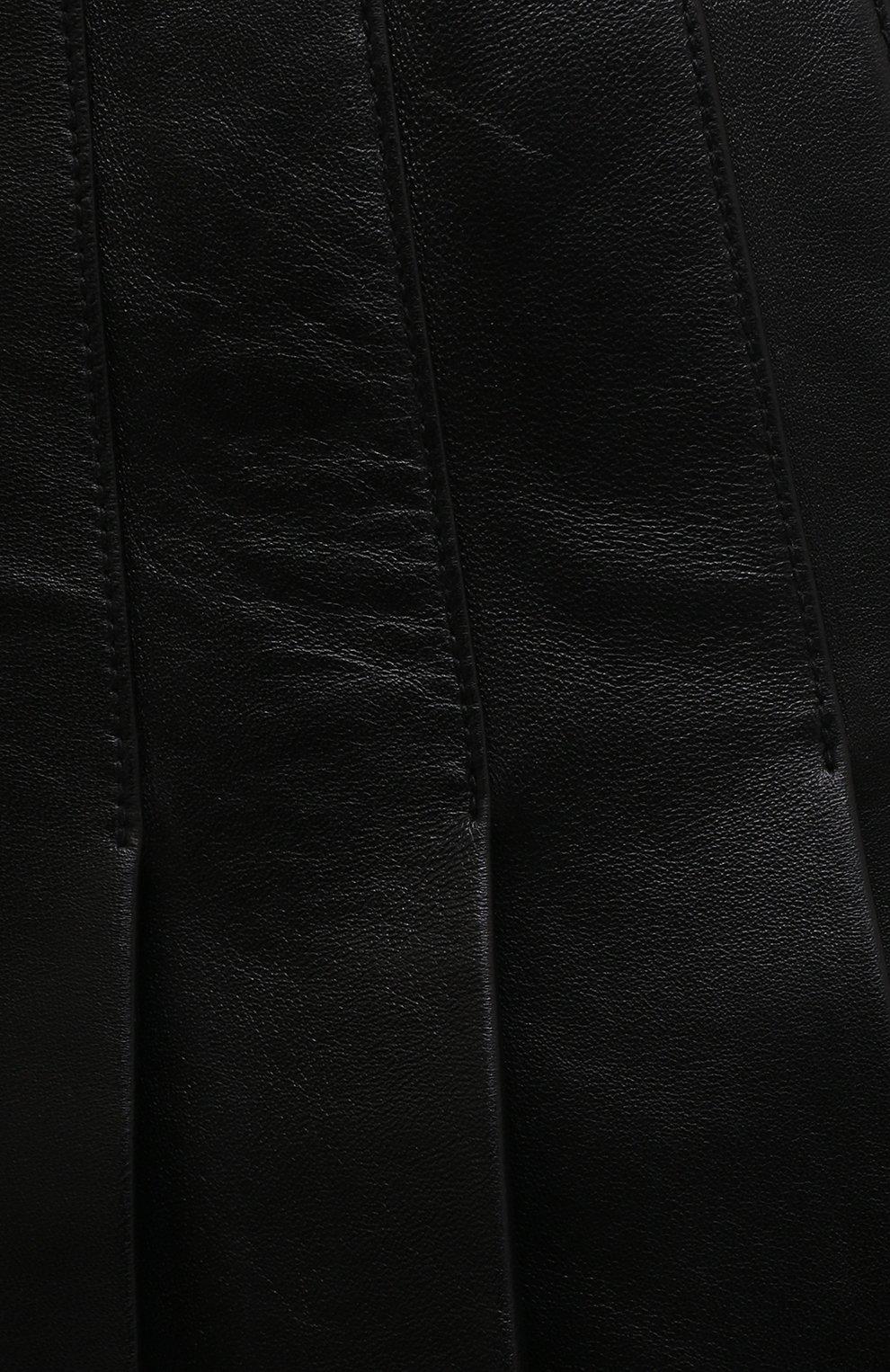 Женская кожаная юбка BALMAIN черного цвета, арт. WF1LB250/L158   Фото 5 (Длина Ж (юбки, платья, шорты): Мини; Женское Кросс-КТ: юбка-плиссе, Юбка-одежда; Стили: Гранж; Материал подклада: Вискоза)