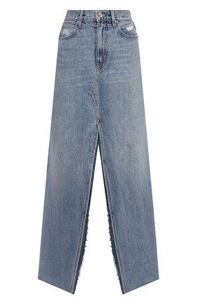 Женская джинсовая юбка SLVRLAKE светло-голубого цвета, арт. PF21/STEV707S/SNFL | Фото 1 (Длина Ж (юбки, платья, шорты): Макси; Материал внешний: Хлопок; Женское Кросс-КТ: Юбка-одежда; Стили: Гранж; Кросс-КТ: Деним)