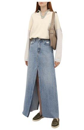 Женская джинсовая юбка SLVRLAKE светло-голубого цвета, арт. PF21/STEV707S/SNFL | Фото 2 (Длина Ж (юбки, платья, шорты): Макси; Материал внешний: Хлопок; Женское Кросс-КТ: Юбка-одежда; Стили: Гранж; Кросс-КТ: Деним)