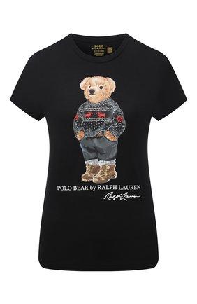 Женская хлопковая футболка POLO RALPH LAUREN черного цвета, арт. 211846851 | Фото 1 (Материал внешний: Хлопок; Длина (для топов): Стандартные; Рукава: Короткие; Женское Кросс-КТ: Футболка-одежда; Стили: Спорт-шик; Принт: С принтом)