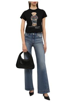 Женская хлопковая футболка POLO RALPH LAUREN черного цвета, арт. 211846851 | Фото 2 (Материал внешний: Хлопок; Длина (для топов): Стандартные; Рукава: Короткие; Женское Кросс-КТ: Футболка-одежда; Стили: Спорт-шик; Принт: С принтом)