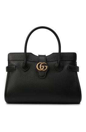 Женская сумка-тоут dahlia medium GUCCI черного цвета, арт. 658442/1U10T | Фото 1 (Ремень/цепочка: На ремешке; Материал: Натуральная кожа; Размер: medium; Сумки-технические: Сумки top-handle, Сумки через плечо)
