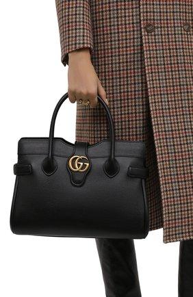 Женская сумка-тоут dahlia medium GUCCI черного цвета, арт. 658442/1U10T | Фото 2 (Ремень/цепочка: На ремешке; Материал: Натуральная кожа; Размер: medium; Сумки-технические: Сумки top-handle, Сумки через плечо)