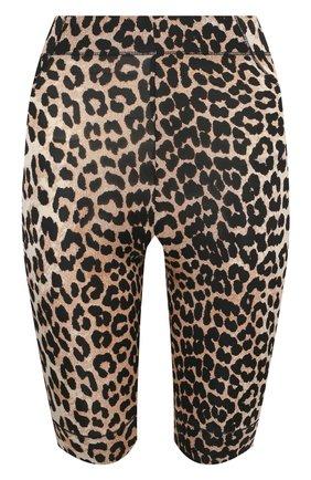 Женские шорты из вискозы GANNI леопардового цвета, арт. A3692   Фото 1 (Материал внешний: Вискоза; Длина Ж (юбки, платья, шорты): Мини; Женское Кросс-КТ: Шорты-одежда; Стили: Гламурный)