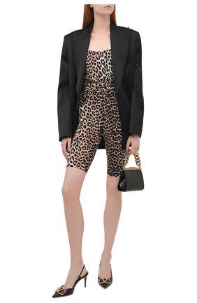Женские шорты из вискозы GANNI леопардового цвета, арт. A3692   Фото 2 (Материал внешний: Вискоза; Длина Ж (юбки, платья, шорты): Мини; Женское Кросс-КТ: Шорты-одежда; Стили: Гламурный)