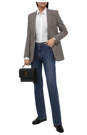 Женские кожаные пенни-лоферы SAINT LAURENT черного цвета, арт. 670232/1VUVV | Фото 2 (Каблук высота: Низкий; Материал внутренний: Натуральная кожа; Подошва: Плоская)