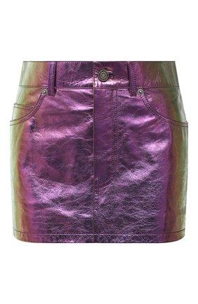Женская кожаная юбка SAINT LAURENT разноцветного цвета, арт. 668991/YCHD2   Фото 1 (Материал подклада: Купро; Длина Ж (юбки, платья, шорты): Мини; Женское Кросс-КТ: Юбка-одежда; Стили: Гранж)