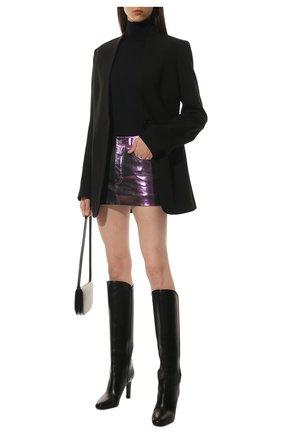 Женская кожаная юбка SAINT LAURENT разноцветного цвета, арт. 668991/YCHD2   Фото 2 (Материал подклада: Купро; Длина Ж (юбки, платья, шорты): Мини; Женское Кросс-КТ: Юбка-одежда; Стили: Гранж)