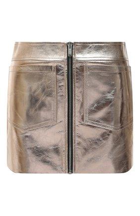 Женская кожаная юбка SAINT LAURENT золотого цвета, арт. 668990/YC2XP   Фото 1 (Материал подклада: Купро; Длина Ж (юбки, платья, шорты): Мини; Женское Кросс-КТ: Юбка-одежда; Стили: Гранж)