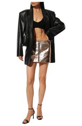 Женская кожаная юбка SAINT LAURENT золотого цвета, арт. 668990/YC2XP   Фото 2 (Материал подклада: Купро; Длина Ж (юбки, платья, шорты): Мини; Женское Кросс-КТ: Юбка-одежда; Стили: Гранж)
