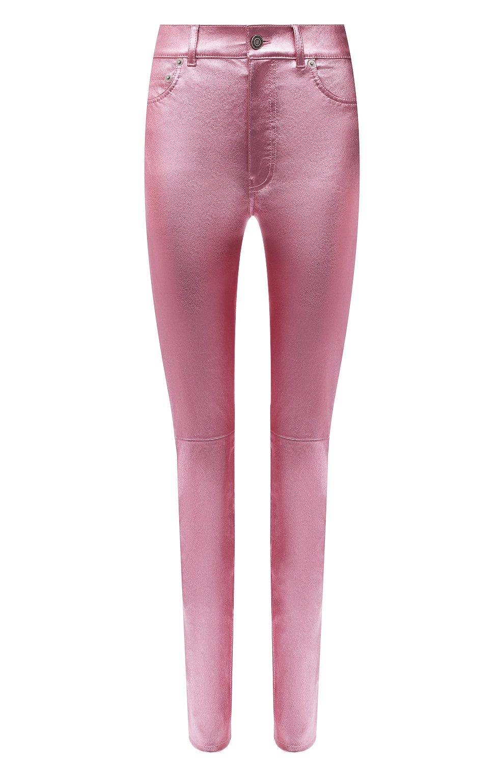 Женские кожаные брюки SAINT LAURENT розового цвета, арт. 619744/YC2XG   Фото 1 (Стили: Гламурный; Длина (брюки, джинсы): Стандартные; Женское Кросс-КТ: Брюки-одежда, Кожаные брюки; Силуэт Ж (брюки и джинсы): Узкие; Материал подклада: Хлопок)