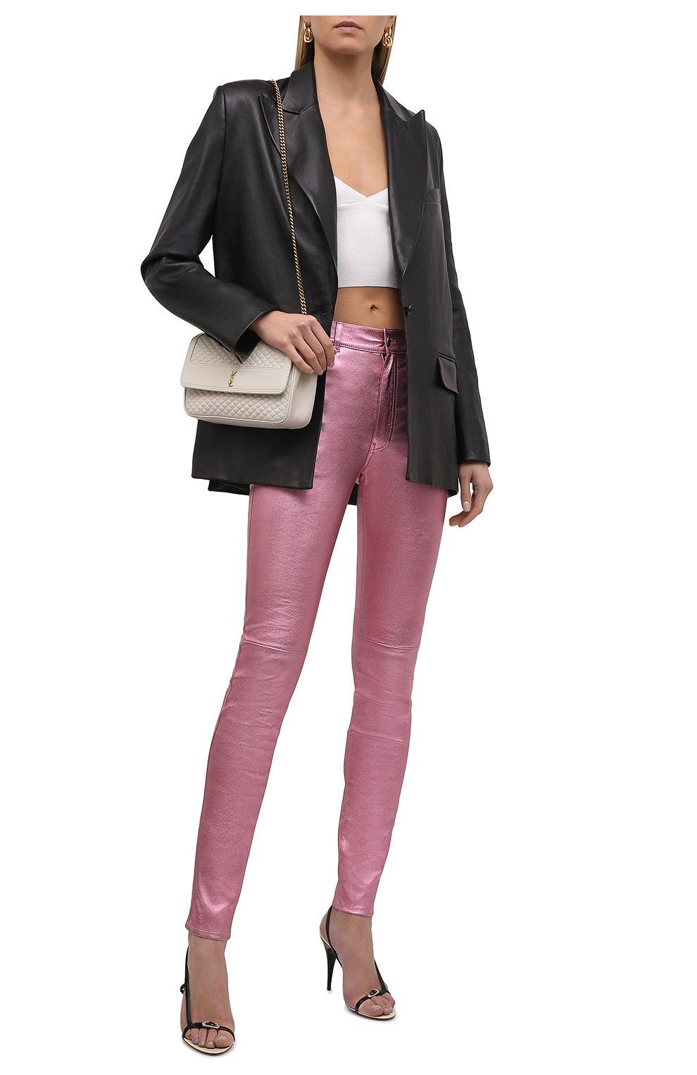 Женские кожаные брюки SAINT LAURENT розового цвета, арт. 619744/YC2XG   Фото 2 (Стили: Гламурный; Длина (брюки, джинсы): Стандартные; Женское Кросс-КТ: Брюки-одежда, Кожаные брюки; Силуэт Ж (брюки и джинсы): Узкие; Материал подклада: Хлопок)
