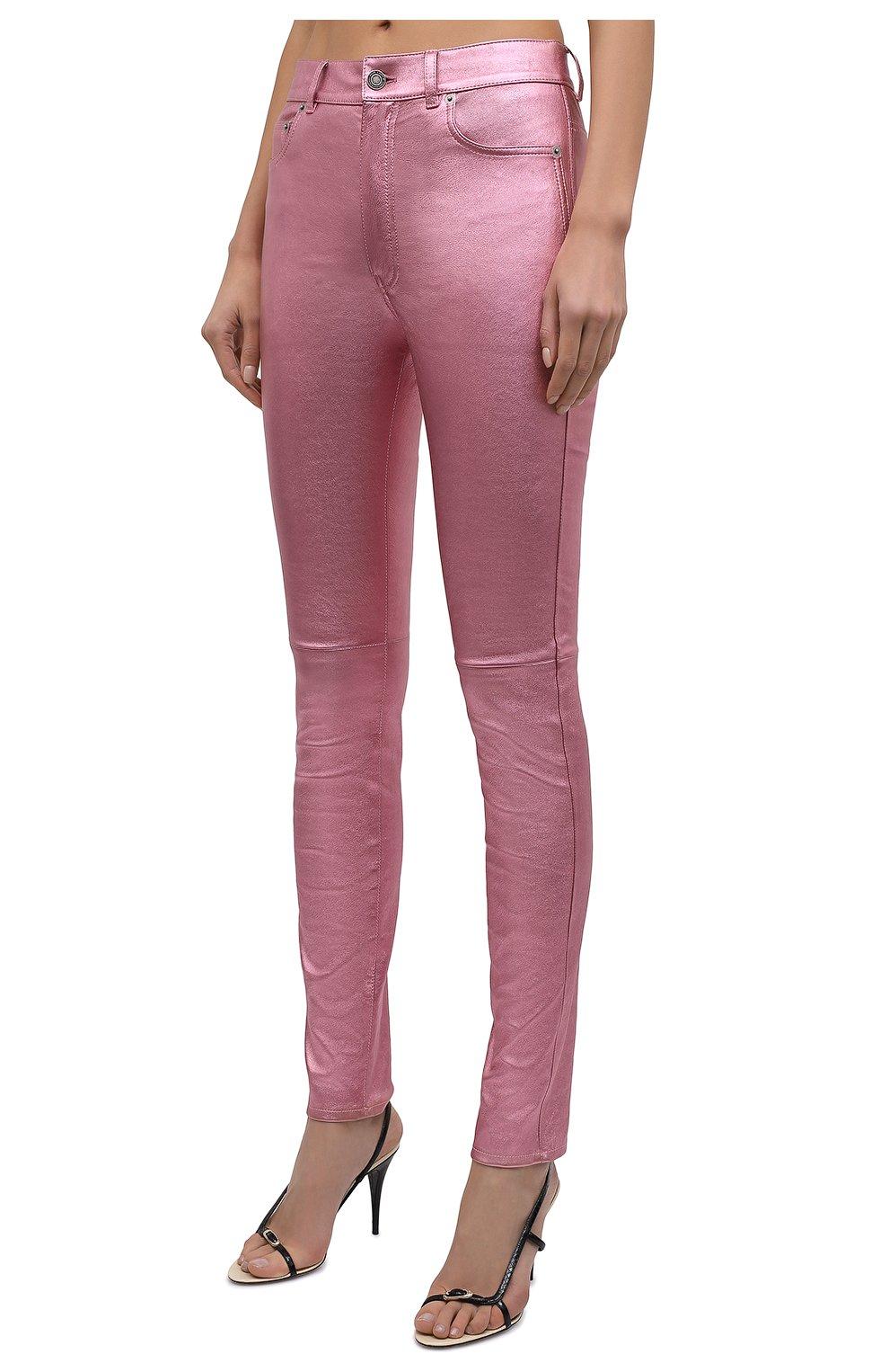 Женские кожаные брюки SAINT LAURENT розового цвета, арт. 619744/YC2XG   Фото 3 (Стили: Гламурный; Длина (брюки, джинсы): Стандартные; Женское Кросс-КТ: Брюки-одежда, Кожаные брюки; Силуэт Ж (брюки и джинсы): Узкие; Материал подклада: Хлопок)