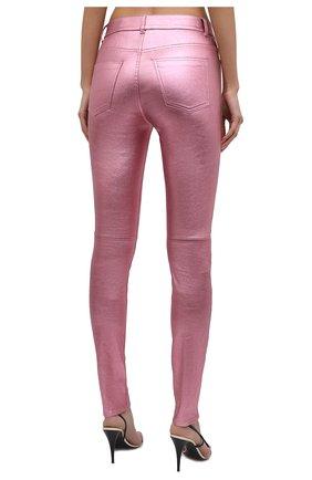 Женские кожаные брюки SAINT LAURENT розового цвета, арт. 619744/YC2XG   Фото 4 (Стили: Гламурный; Длина (брюки, джинсы): Стандартные; Женское Кросс-КТ: Брюки-одежда, Кожаные брюки; Силуэт Ж (брюки и джинсы): Узкие; Материал подклада: Хлопок)