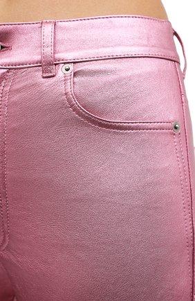 Женские кожаные брюки SAINT LAURENT розового цвета, арт. 619744/YC2XG   Фото 5 (Стили: Гламурный; Длина (брюки, джинсы): Стандартные; Женское Кросс-КТ: Брюки-одежда, Кожаные брюки; Силуэт Ж (брюки и джинсы): Узкие; Материал подклада: Хлопок)