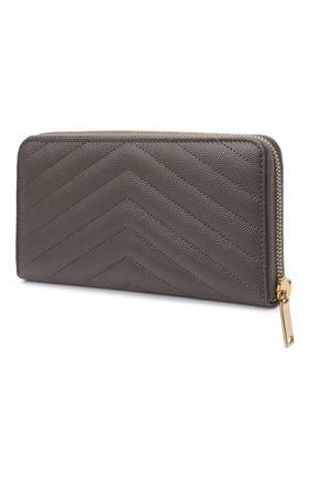 Женские кожаный кошелек SAINT LAURENT серого цвета, арт. 358094/B0W0J | Фото 2